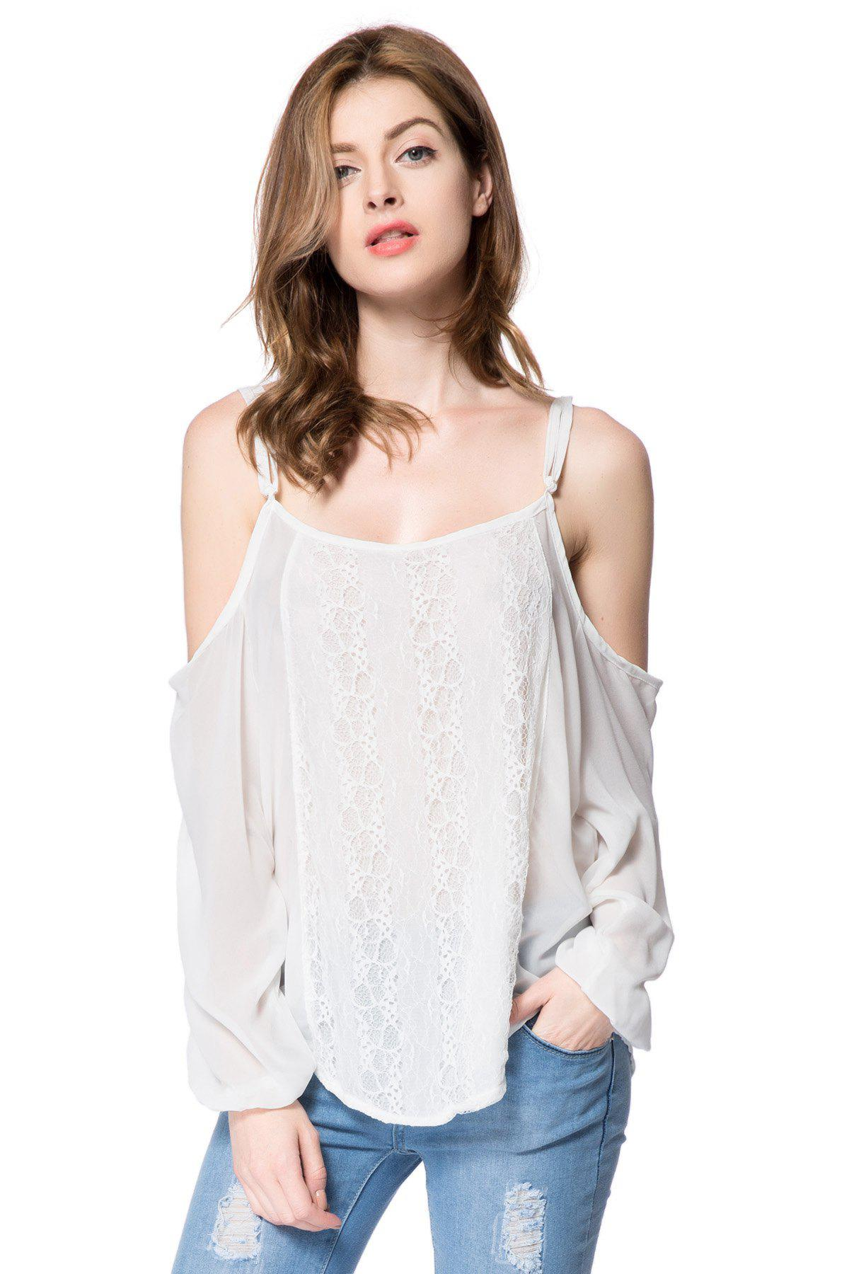 Spaghetti Strap Long Sleeve Lace Blouse For Women - WHITE L