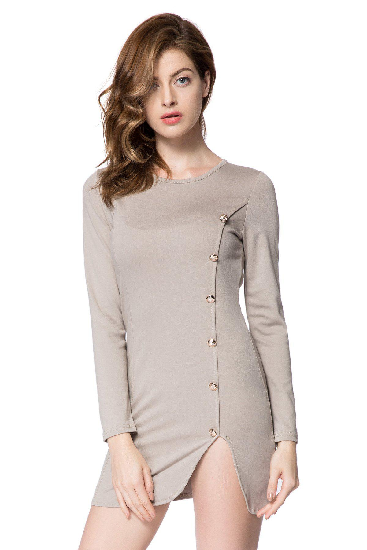 Solid Color Long Sleeve Round Collar Buttons Design Packet Buttock Dress - LIGHT GRAY M
