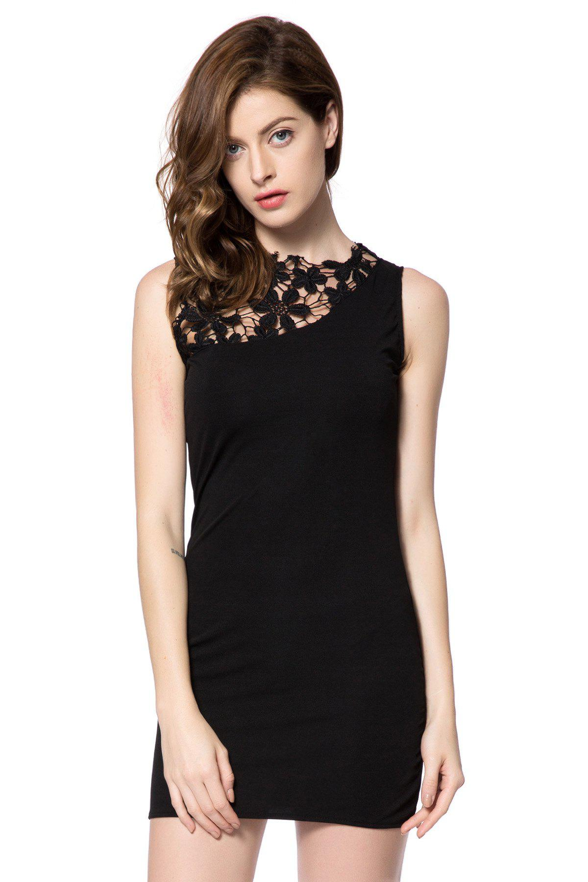 Elegant Round Neck Sleeveless Lace Splicing Black Dress For Women
