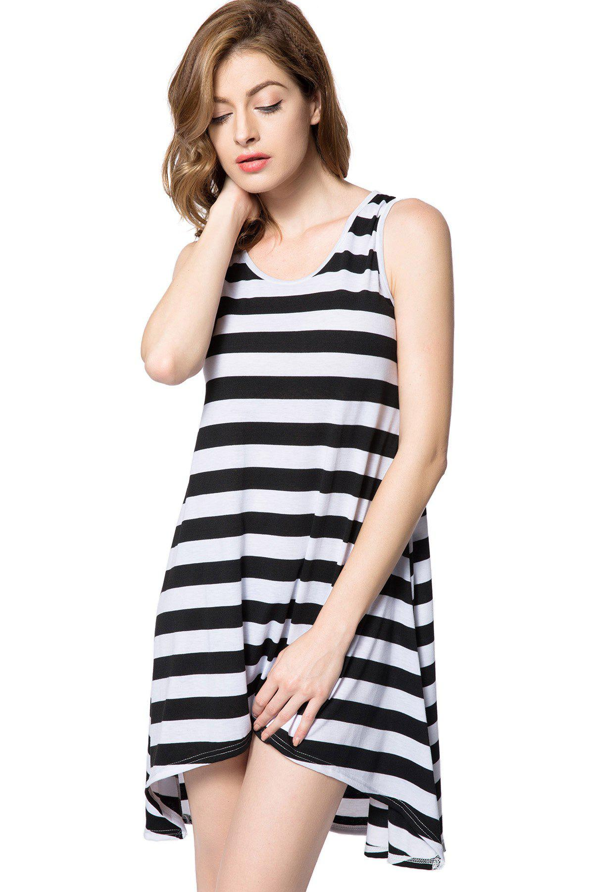 High Low Scoop Neck Striped Tank Dress - BLACK ONE SIZE