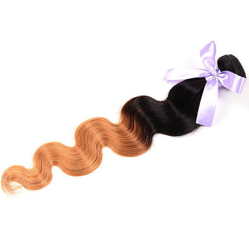 Faddish Top Quality Silky Brazil Hair Body Wavy Two-Tone Color Ombre Women's Human Hair Weft - OMBRE 24INCH