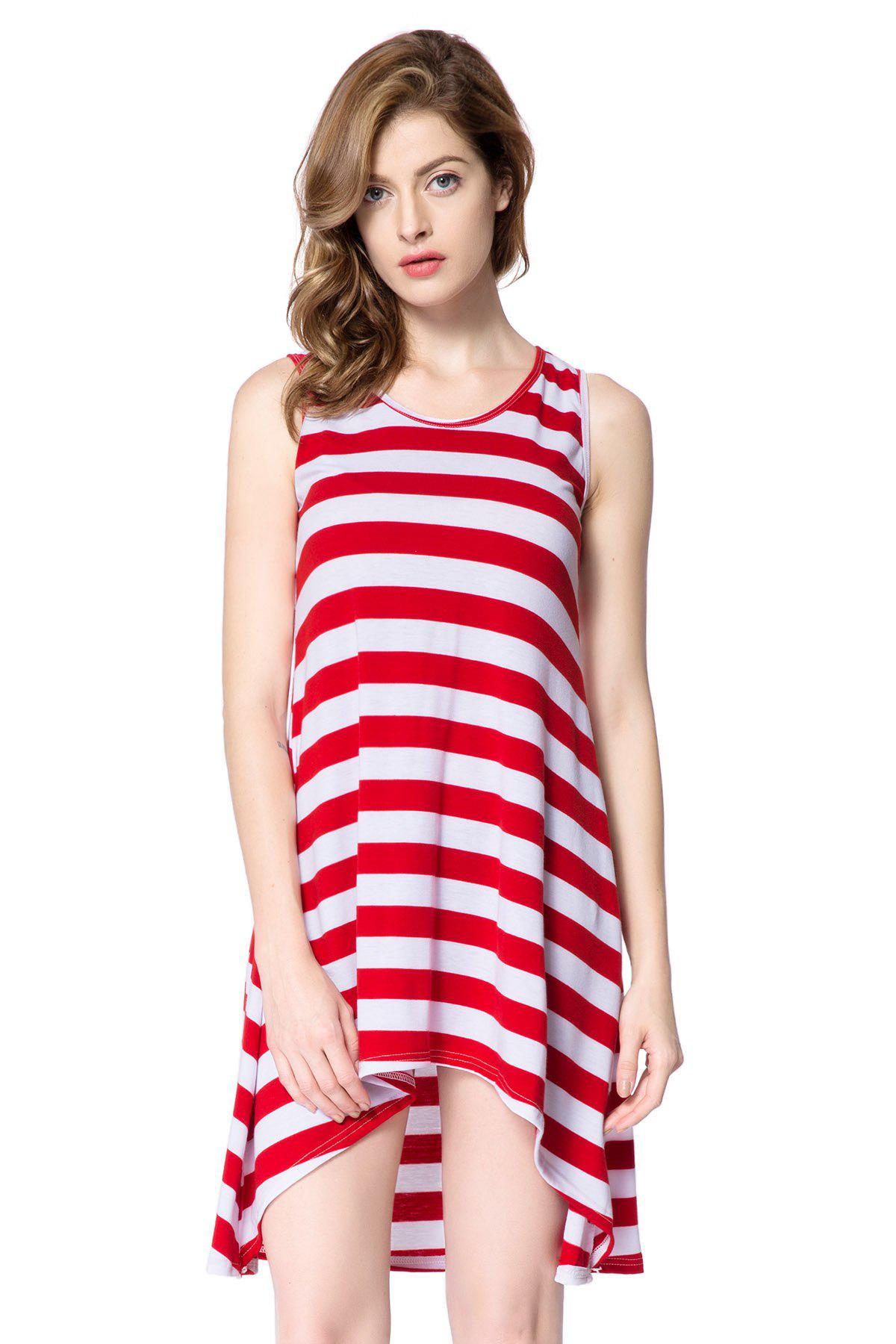 Casual Scoop Neck Sleeveless Loose-Fitting Striped Women's Dress - RED ONE SIZE