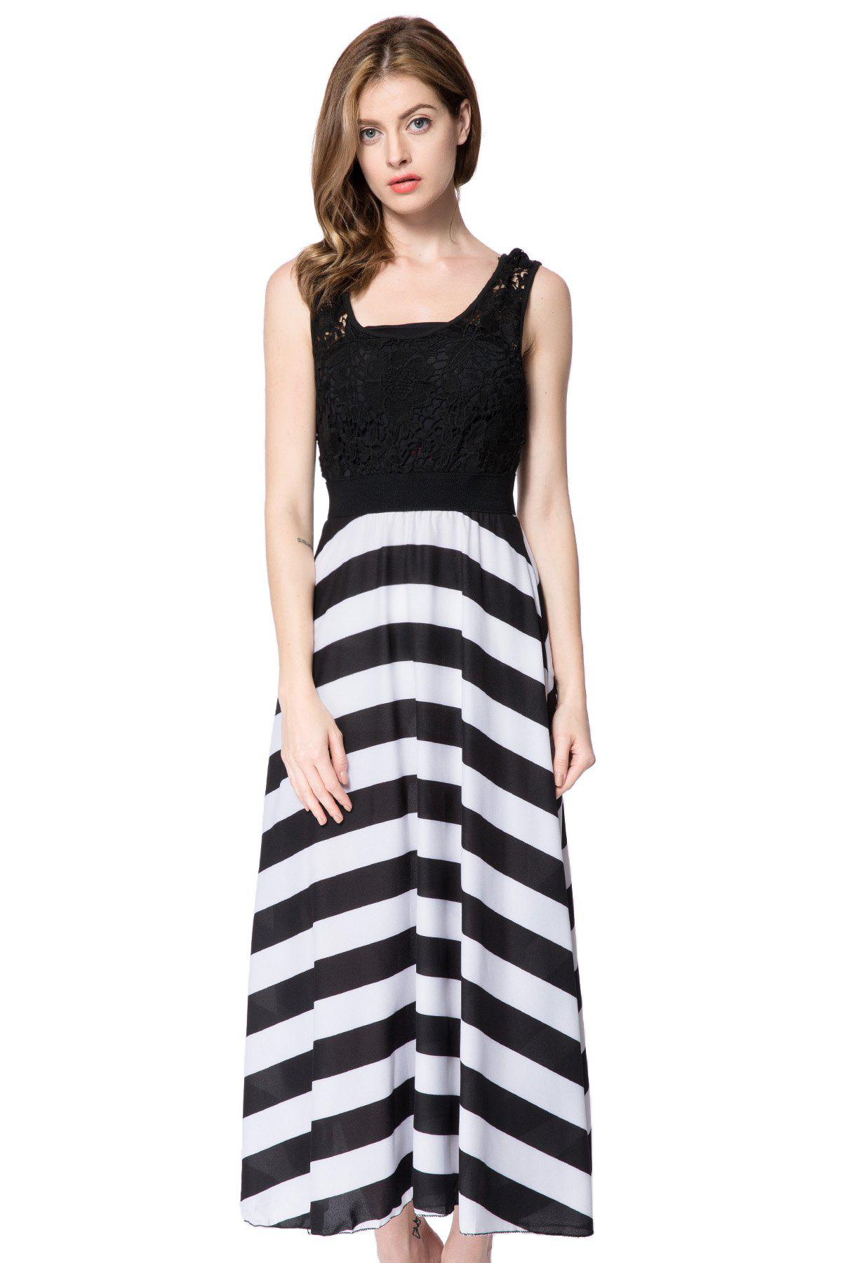 Lace Embellished Hollow Out Design Sleeveless Scoop Neck Striped Dress - WHITE/BLACK M