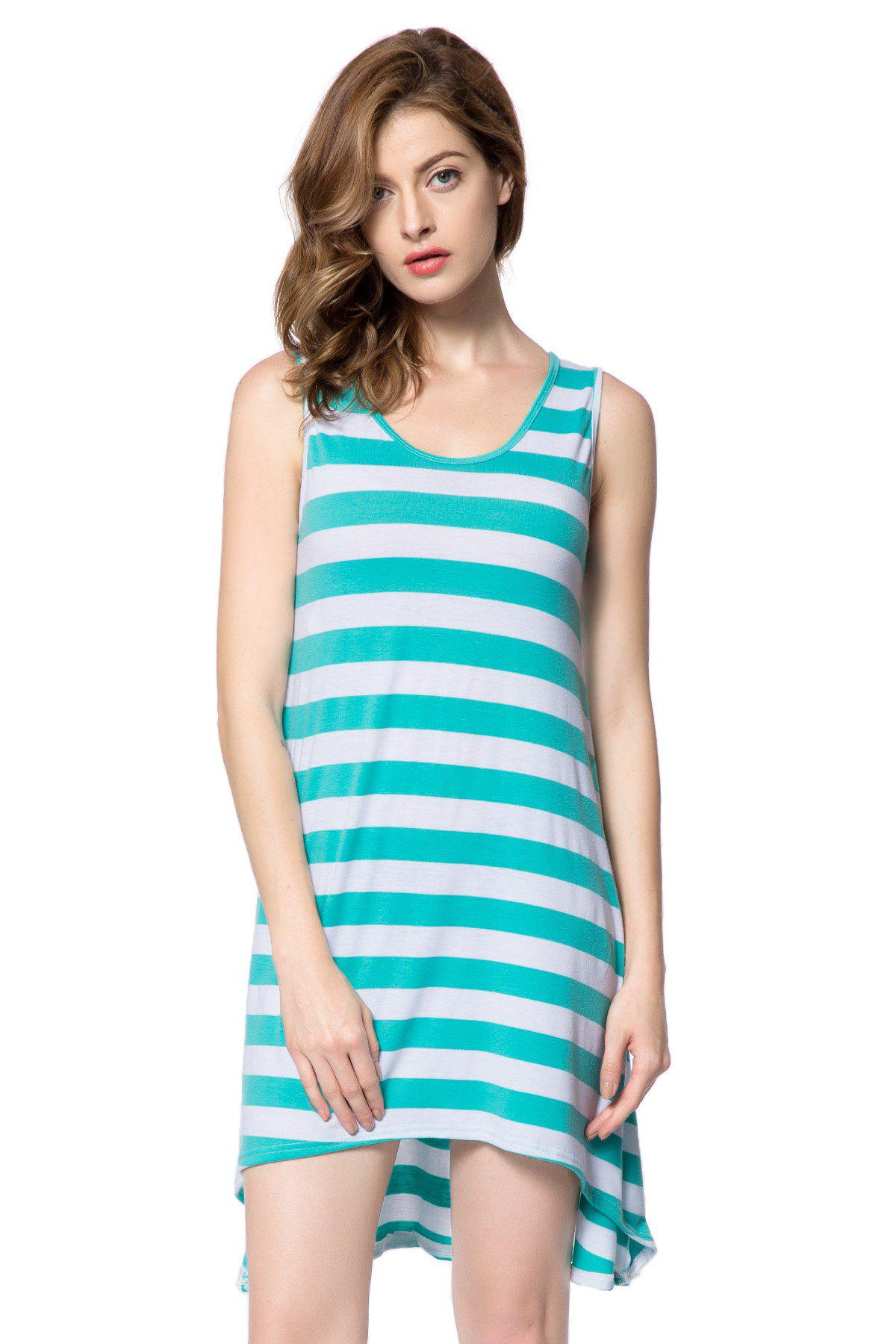 Casual Scoop Neck manches ample robe à rayures Femmes - Vert ONE SIZE
