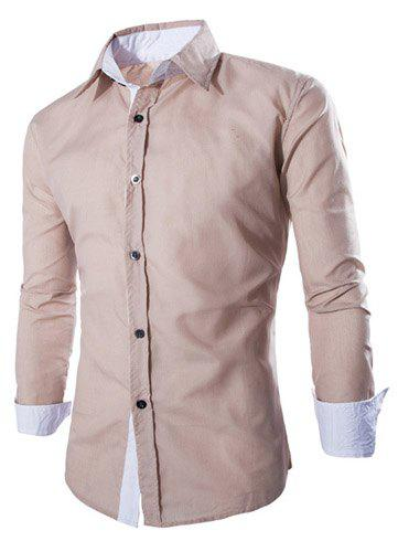 Trendy Two Color Splicing Shirt Collar Long Sleeve Fitted Men's Polyester Shirt - DARK KHAKI M