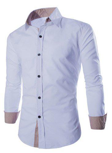 Trendy Two Color Splicing Shirt Collar Long Sleeve Fitted Men's Polyester Shirt - WHITE XL