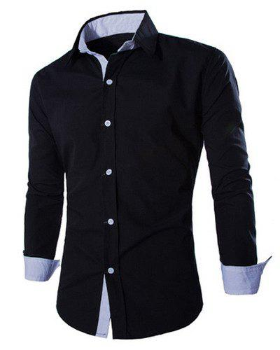 Trendy Two Color Splicing Shirt Collar Long Sleeve Fitted Men's Polyester Shirt - BLACK L