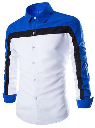 Trendy Three Color Splicing Shirt Collar Long Sleeve Fitted Men's Polyester Shirt