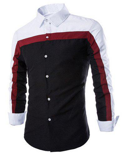 Trendy Three Color Splicing Shirt Collar Long Sleeve Fitted Men's Polyester Shirt - BLACK 2XL