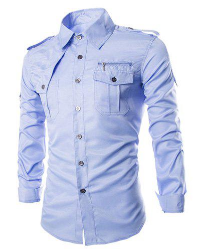 Trendy Uniform Style Epaulet and Zipper Design Shirt Collar Long Sleeve Fitted Men's Polyester Shirt - AZURE M