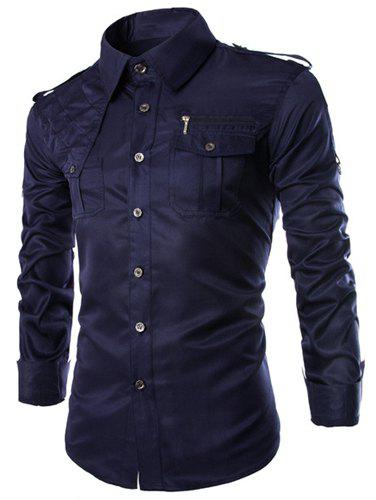 Trendy Uniform Style Epaulet and Zipper Design Shirt Collar Long Sleeve Fitted Men's Polyester Shirt - CADETBLUE M