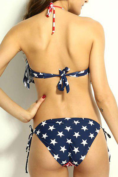 Sexy Style Halter Neck Tie-Up Star Stripe American Flag Print Bikini Set For Women - AS THE PICTURE M