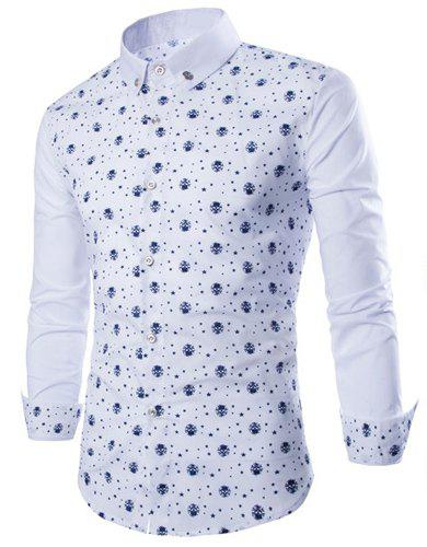 Trendy Tiny Skull and Five-Point Star Print Shirt Collar Long Sleeve Fitted Men's Polyester Shirt