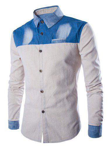 Trendy Pinstripe Color Block Denim Splicing Shirt Collar Long Sleeve Fitted Men's Polyester Shirt - YELLOW L