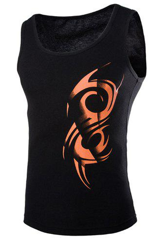 Fashion Round Neck Slimming Ethnic Totem Print Sleeveless Polyester Tank Top For Men