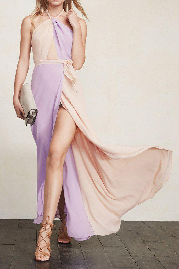 Purple Apricot Halter Color Block Maxi Dress - AS THE PICTURE S