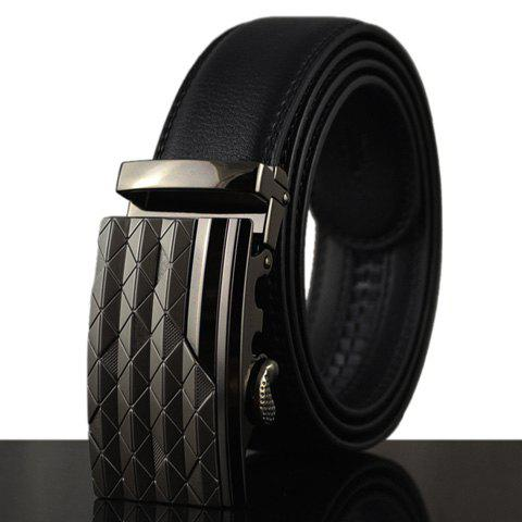 Stylish Mesh Shape and Stripy Design Buckle Belt For Men - BLACK