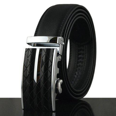 Stylish Rhombic Pattern Buckle Faux Leather Men's Belt - BLACK