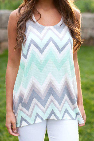 Stylish Scoop Neck Sleeveless Racerback Zig Zag Women's Tank Top - LIGHT GRAY XL