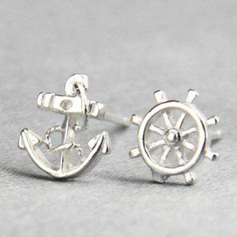 Pair of Rudder and Anchor Shape Asymmetric Earrings - SILVER