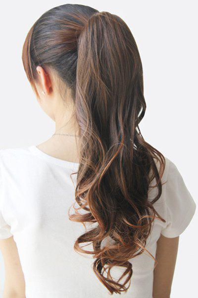 Stylish Charming Drawstring Heat-Resistant Fluffy Long Wavy Ponytail Women's Hair Extension - LIGHT BROWN