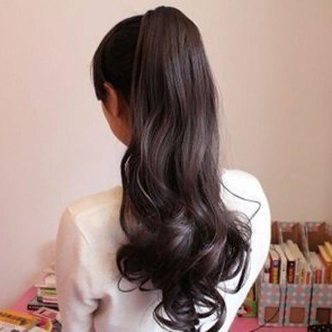 Stylish Charming Drawstring Heat-Resistant Fluffy Long Wavy Ponytail Women's Hair Extension - DEEP BROWN