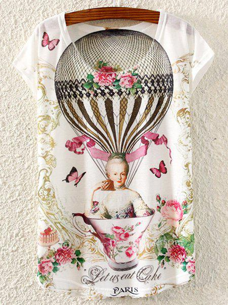 Casual Women's Scoop Neck Print Short Sleeve T-Shirt - WHITE ONE SIZE(FIT SIZE XS TO M)