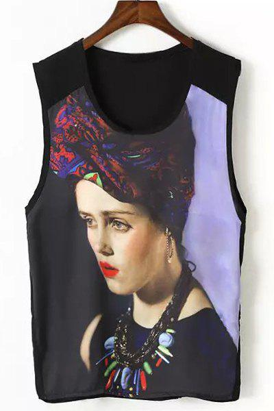 Stylish Beauty Print U-Neck Sleeveless T-Shirt For Women - LIGHT PURPLE M