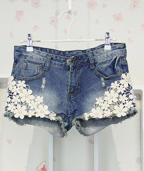 Fashionable Appliques Design Women's Shorts - BLUE XL