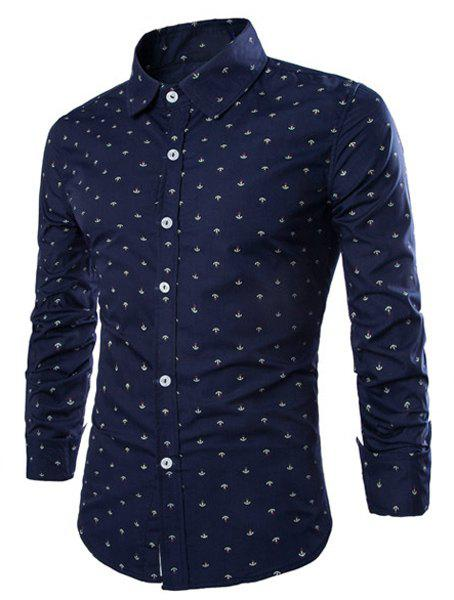 Western Style Turn-down Collar Anchor Print Slimming Long Sleeves Men's Cotton Blend Shirt - DEEP BLUE M