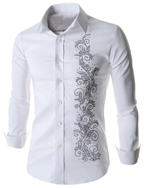 Refreshing Fitted Turn-down Collar Beads Embellished Long Sleeves Men's Cotton Blend Shirt - WHITE M