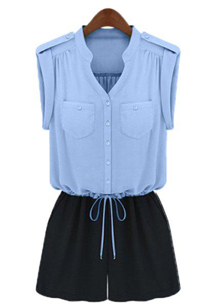Stylish Stand-Up Collar Sleeveless Drawstring Spliced Women's Romper - BLUE L