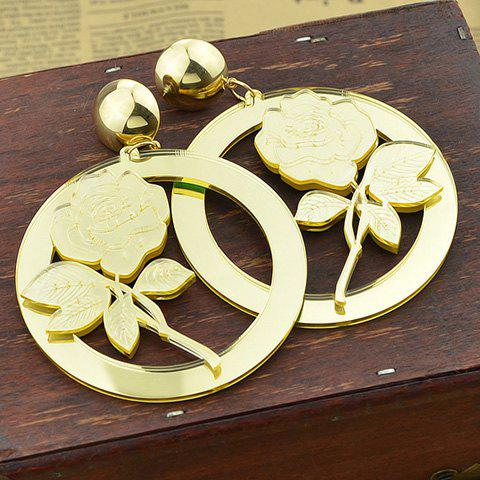 Pair of Chic Rose and Hollow Our Round Shape Earrings For Women - GOLDEN