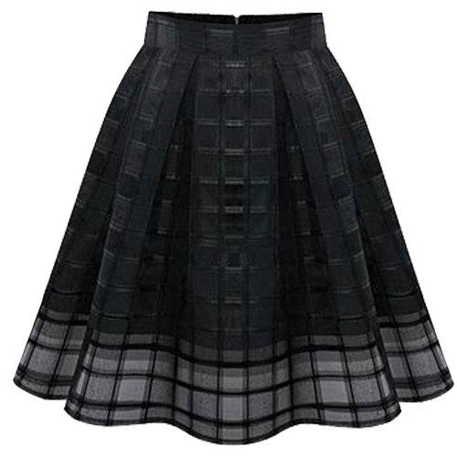 Stylish Women's Plaid Plus Size Organza Skirt - BLACK XL