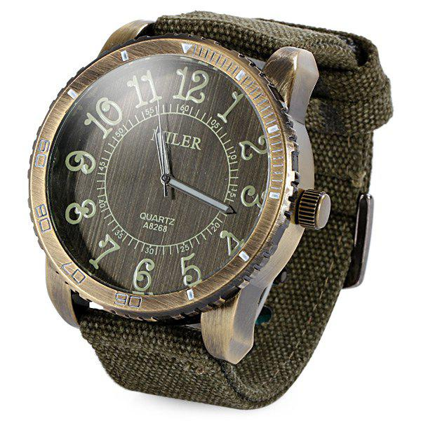 Miler A8268 Male Quartz Watch Big Bronze Dial Canvas Band