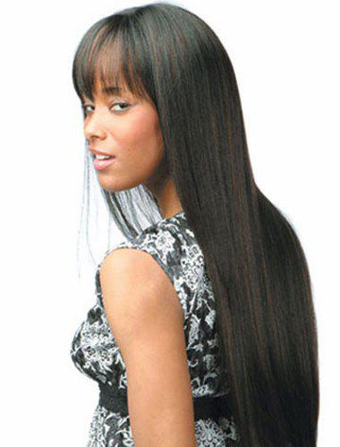 Trendy Synthetic Black Mixed Brown Long Straight Full Bang Elegant Women's Capless Wig fashion silky straight capless long black mixed brown full bang synthetic wig for women