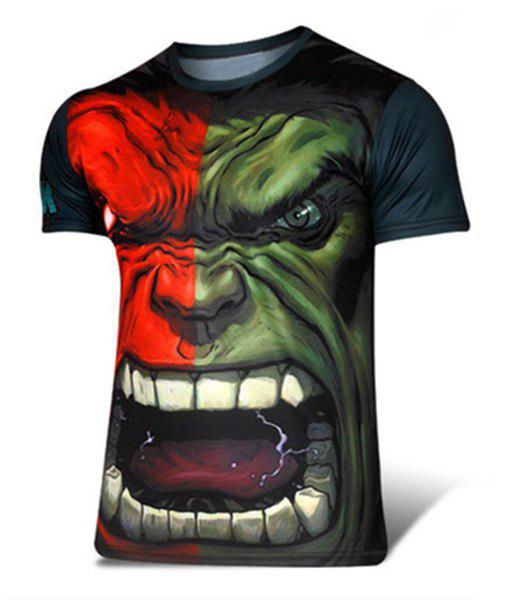 Trendy Color Block The Hulk Print Round Neck Short Sleeve Slimming Men's Polyester T-Shirt - CADETBLUE XL