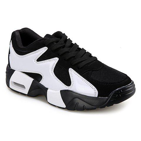 Stylish Style Splicing and Lace-Up Design Men's Athletic Shoes - WHITE/BLACK 39