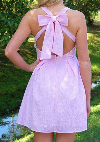 Sexy V-Neck Solid Color Bowknot Embellished Sleeveless Dress For Women - PINK XL
