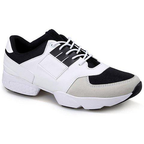 Stylish Splicing and Lace-Up Design Men's Color Block Casual Shoes - WHITE 44