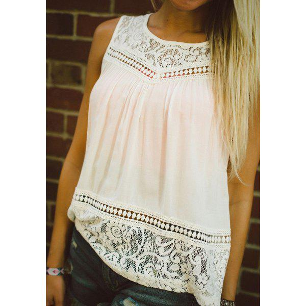 Stylish Round Collar Lace Spliced Chiffon Tank Top For Women