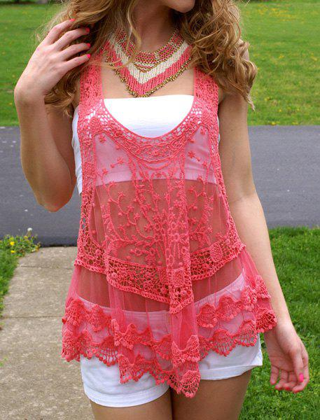 Stylish Sleeveless U-Neck See-Through Lace Women's Tank Top - WATERMELON RED S