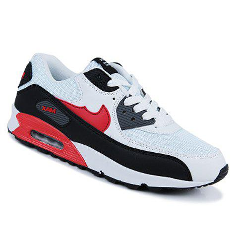 Preppy Style Color Block and Lace-Up Design Athletic Shoes For Men - BLACK 39