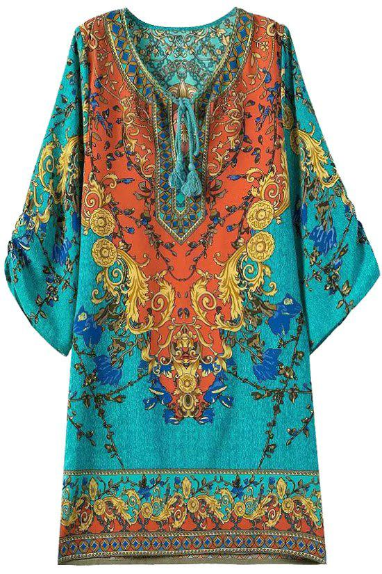 Ethnic Style V-Neck Color Block Floral Print 3/4 Sleeve Dress For Women - COLORMIX M