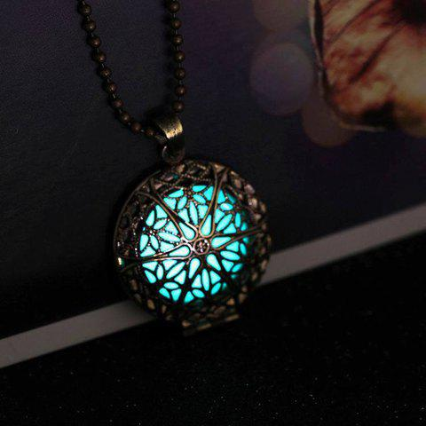 Luminated Hollow Out Round Necklace - BLUE