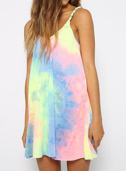 Sweet Spaghetti Strap Rainbow Color Dress For Women - AS THE PICTURE M