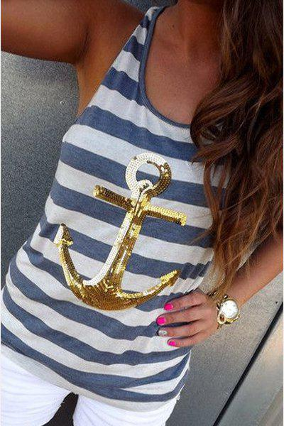 Trendy Women's Scoop Neck Striped Sequined Anchor Tank Top - GOLDEN S