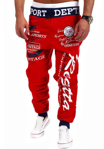 Fashion Lace-Up Letter Print Color Block Rib Splicing Loose Fit Beam Feet Men's Polyester Sweatpants - RED M