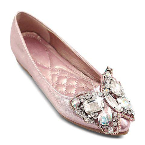 Stylish Rhinestones and Butterfly Design Women's PU Leather Flat Shoes