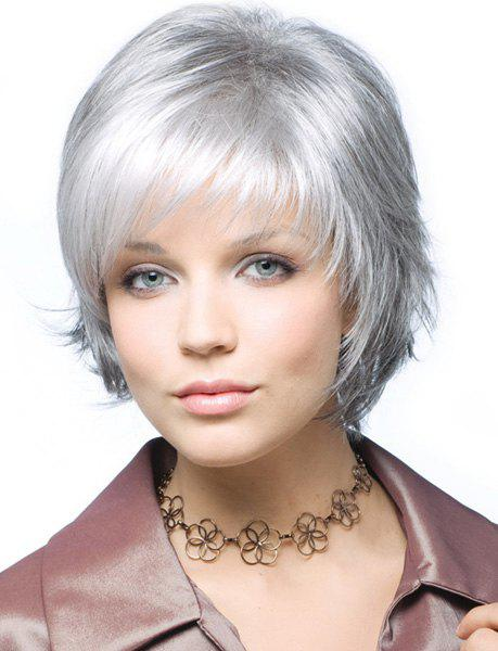 Trendy Synthetic Short Curly Side Bang Towheaded Charming Women's Capless Wig, Silver white
